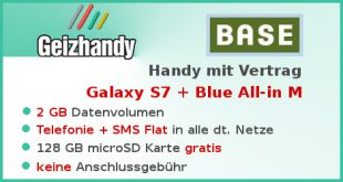 Handy mit Vertrag Samsung Galaxy S7 + Base Tarif Blue All-in M
