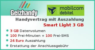 Handyvertrag mit Auszahlung Aktion Smart Light 3 GB
