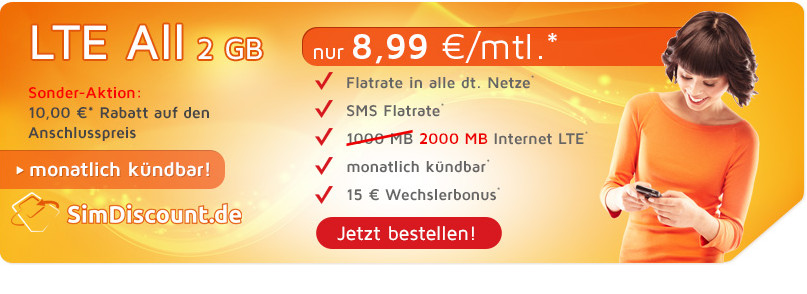 Smartphone Flatrate SimDiscount LTE All 2 GB