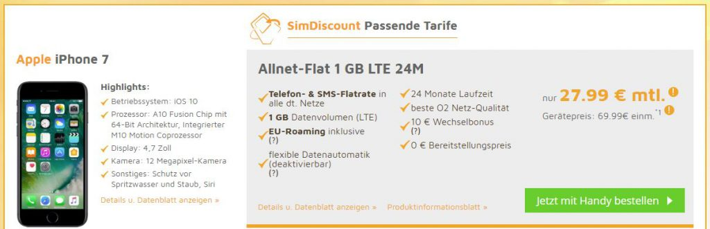 Apple iPhone 7 mit LTE Allnet Flat